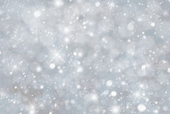 Gray Christmas Background With Snwoflakes, Bokeh en Sterren, Blauwe Kleur Royalty-vrije Stock Foto
