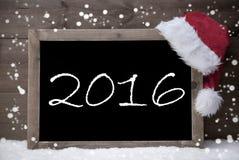 Gray Christmas Card, Blackboard, 2016, Snow Royalty Free Stock Photography