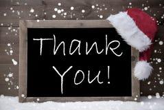 Gray Christmas Card, Blackboard, Thank You, Snow Royalty Free Stock Photography