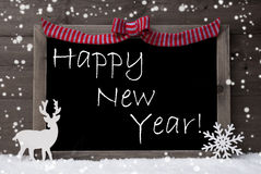 Gray Christmas Card, copos de nieve, lazo, Feliz Año Nuevo Foto de archivo