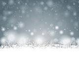 Gray Christmas Card Cover Winter snöflingor Arkivfoto