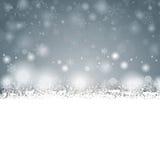 Gray Christmas Card Cover Winter-Sneeuwvlokken Stock Foto