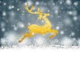 Gray Christmas Card Cover Winter-Sneeuwvlokken Gouden Rendier royalty-vrije illustratie
