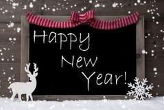 Gray Christmas Card, flocos de neve, laço, ano novo feliz foto de stock