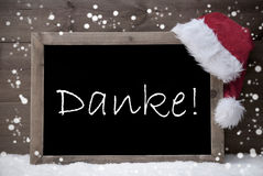 Gray Christmas Card, lavagna, media di Danke vi ringrazia, neve Fotografia Stock Libera da Diritti