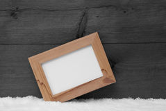 Gray Christmas Card With Picture Frame And Copy Space, Snow Royalty Free Stock Image