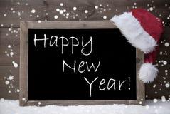 Gray Christmas Card, pizarra, Feliz Año Nuevo, nieve Imagen de archivo libre de regalías