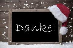 Gray Christmas Card, pizarra, medio de Danke le agradece, nieve Foto de archivo libre de regalías