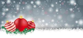 Gray Christmas Card Red Baubles lungo Fotografia Stock