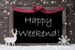 Gray Christmas Card, Schneeflocken, Schleife, glückliches Wochenende Stockfoto