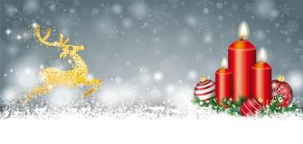 Gray Christmas Snow Baubles 3 Candles Golden Reindeer Header Royalty Free Stock Photo