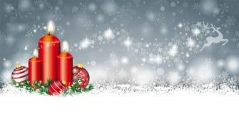 Gray Christmas Card Snow Baubles-Takjes 3 Kaarsenrendier Stardu royalty-vrije illustratie