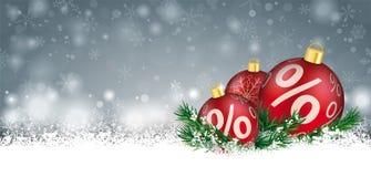 Gray Christmas Card Snow Red-de Kopbal van Percents van Snuisterijentakjes stock illustratie