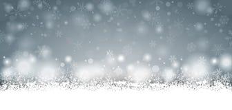 Gray Christmas Card Snowfall lungo Immagine Stock