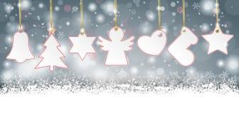 Gray Christmas Card Stickers lungo Immagini Stock Libere da Diritti