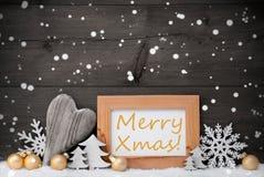 Gray Christmas Decoration de oro, nieve, feliz Navidad, copo de nieve Imagen de archivo libre de regalías