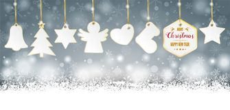 Gray Christmas Golden Price Stickers Header. Gray christmas card with stickers and snow vector illustration