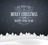 Gray Christmas-prentbriefkaar met het van letters voorzien Royalty-vrije Stock Afbeeldingen