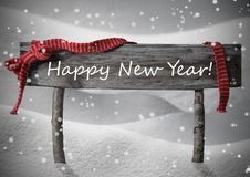 Gray Christmas Sign Happy New Year Snow, Red Ribbon, Snowflakes. Gray Wooden Christmas Sign On White Snow. Snowy Scenery, Snowflakes. Red Ribbon, English Text vector illustration