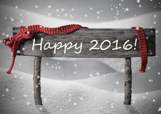 Gray Christmas Sign Happy 2016, nieve, cinta roja, copos de nieve Fotos de archivo