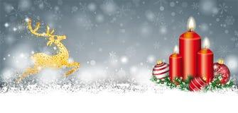 Gray Christmas Snow Baubles 3 velas de jefe de oro del reno libre illustration