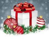 Gray Christmas Snowflakes Red Baubles-Geschenk Lizenzfreie Stockbilder