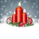 Gray Christmas Snowflakes Red Baubles 3 Kerzen Stockbild