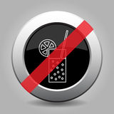 Gray chrome button, no glass with carbonated drink Royalty Free Stock Photography