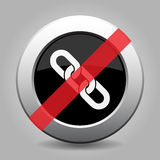 Gray chrome button - no hanging chain. Gray chrome button with no hanging chain - banned icon Royalty Free Stock Photography