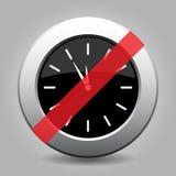 Gray chrome button - no last minute clock. Gray chrome button with no last minute clock- banned icon stock illustration