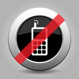 Gray chrome button - no old mobile phone Royalty Free Stock Photo