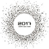 Gray Circle New Year 2017 frame on white Background. Gray - White color New Year 2017 circle Background. confetti circle new year frame. transparent background Stock Photo