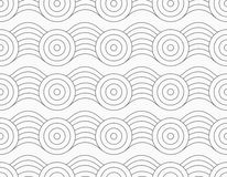 Gray circles on bulging waves. Monochrome abstract geometrical pattern. Modern gray seamless background. Flat simple design.Gray circles on bulging waves Stock Photo