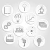Gray circular icons of business and science royalty free illustration