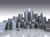 Gray city. Abstract 3d illustration of gray city background stock illustration