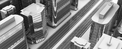 Gray city. 3d illustration of aerial city view, black and white colors Stock Image