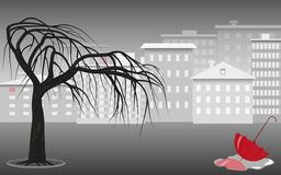 Gray city landscape. Red umbrella in a puddle against the background of the city landscape in gray tones, tree and houses, vector illustration Stock Photos