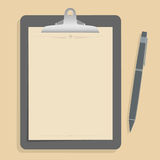 Gray clipboard with blank brown paper. With pen put alongside. vector illustration Stock Photos