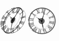 Gray clock on white background Stock Photos
