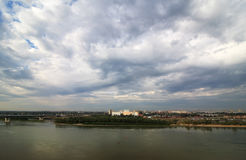 Gray clouds over the city. Omsk. Russia Royalty Free Stock Photo