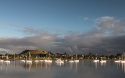 Gray clouds over mount Wellington, Auckland, New Zealand stock photo