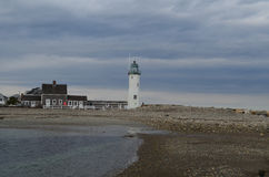 Gray Clouds Over Old Scituate Light Stock Image