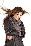 Gray coat woman hair blow look Royalty Free Stock Photo