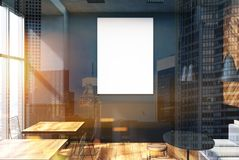 Gray coffee shop interior, poster toned. Vertical framed poster on a cafe wall. Large windows, gray and wooden walls and round tables with sofas and stools. 3d Royalty Free Stock Photography