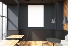Gray coffee shop interior, poster. Vertical framed poster on a cafe wall. Large windows, gray and wooden walls and round tables with sofas and stools. 3d Stock Images