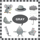 Gray color. Learn The Color Gray- things that are gray color Royalty Free Stock Photos