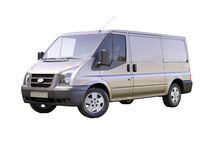 Gray commercial delivery van Stock Photos
