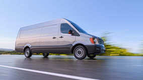 Gray Commercial Van auf Landstraßen-Bewegung unscharfer Illustration 3d Stockfotografie