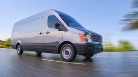 Gray Commercial Van på för Fisheye för huvudvägrörelse suddig illustration lins 3d Royaltyfria Bilder