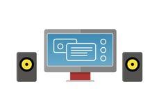 Gray Computer Monitor avec les haut-parleurs audio illustration de vecteur